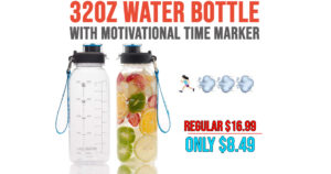32oz Water Bottle with Motivational Time Marker Only $8.49 Shipped on Amazon (Regularly $16.99)