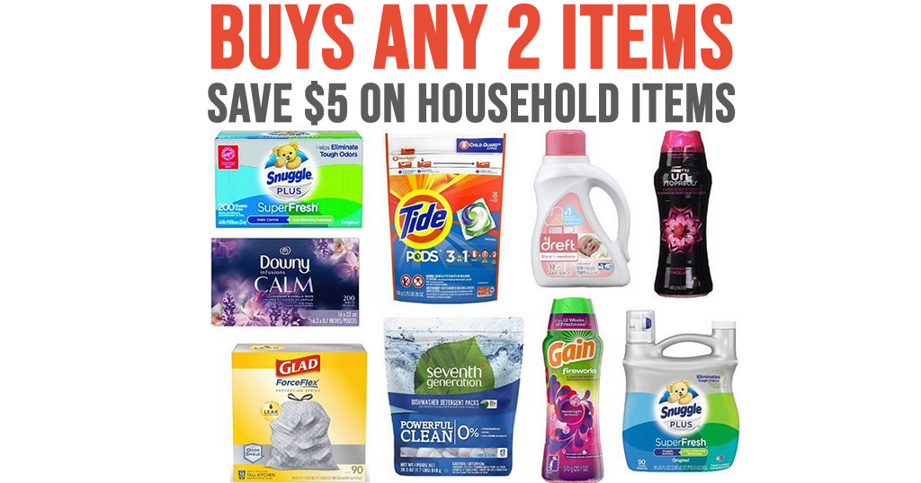 Buy Any 2 Household Products & Save $5 on Amazon