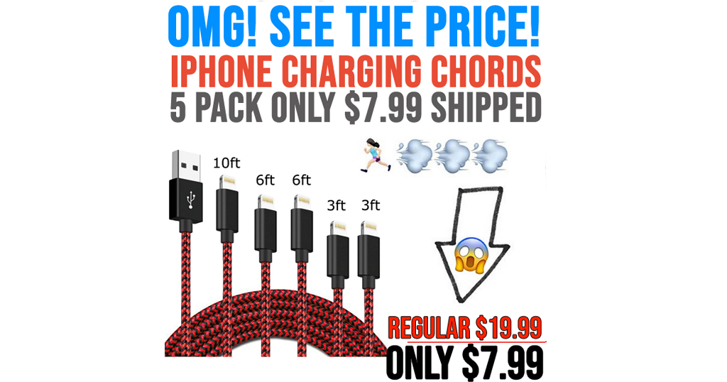 Iphone Charging Chords 5 Pack Only $7.99 Shipped on Amazon (Regularly $19.99)