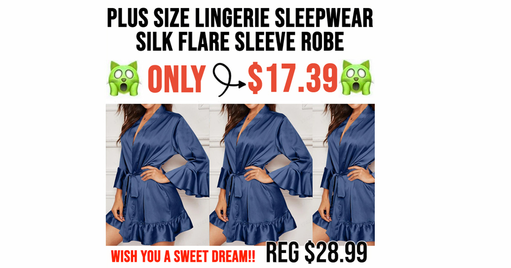 Plus size Lingerie Sleepwear Silk Flare Sleeve Robe Only $17.39 Shipped (Regularly $28.99)