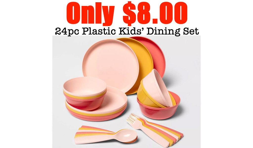 24pc Plastic Kids' Dining Set Only $8.00 at Target