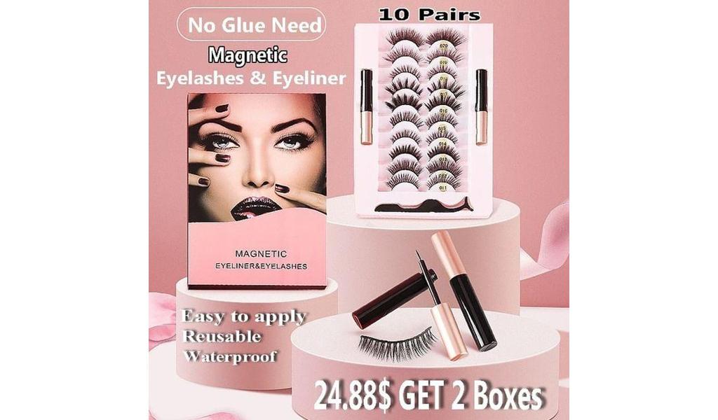 3D Magnetic Eyelashes With Eyeliner Kit