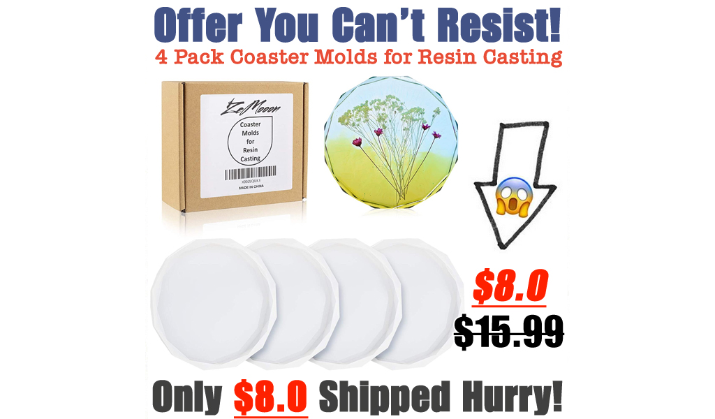 4 Pack Coaster Molds for Resin Casting Only $8.0 Shipped on Amazon (Regularly $15.99)