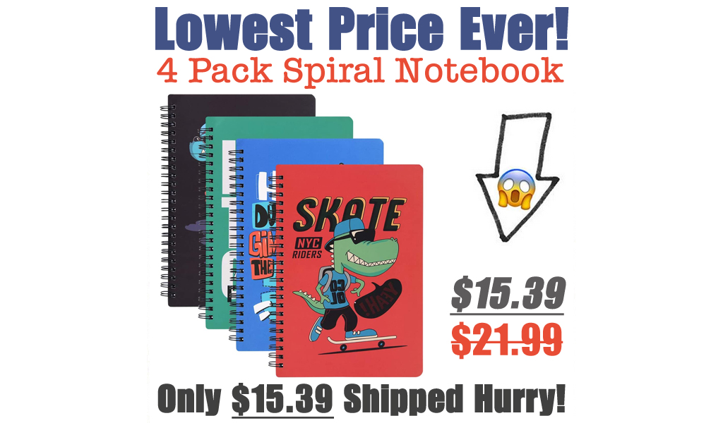 4 Pack Spiral Notebook Just $15.39 Shipped on Amazon (Regularly $21.99)
