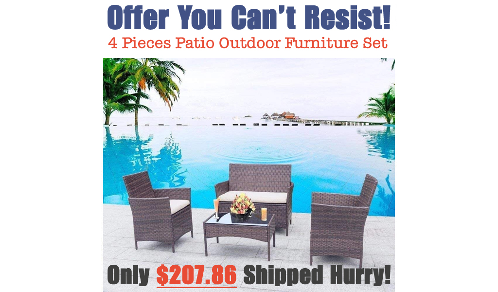 4 Pieces Patio Outdoor Furniture Set Just $207.86 Shipped on Amazon