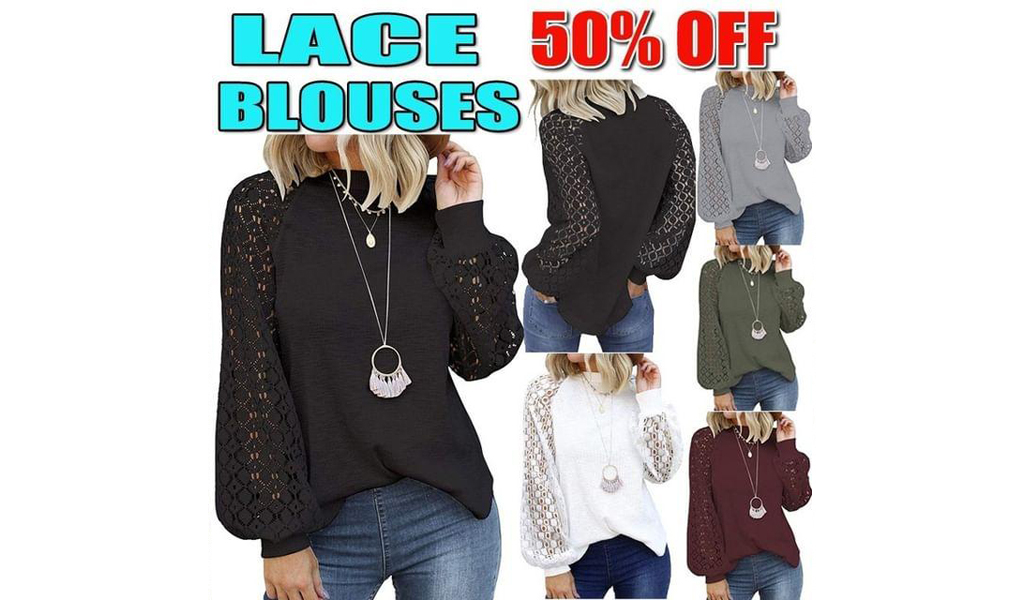 50% off Lace Casual Loose Blouses Shirts