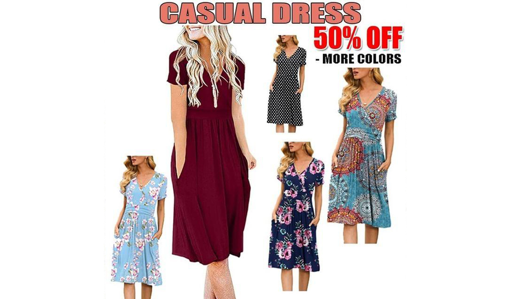 50% off Women Casual Short Dress With Pockets+Free Shipping!