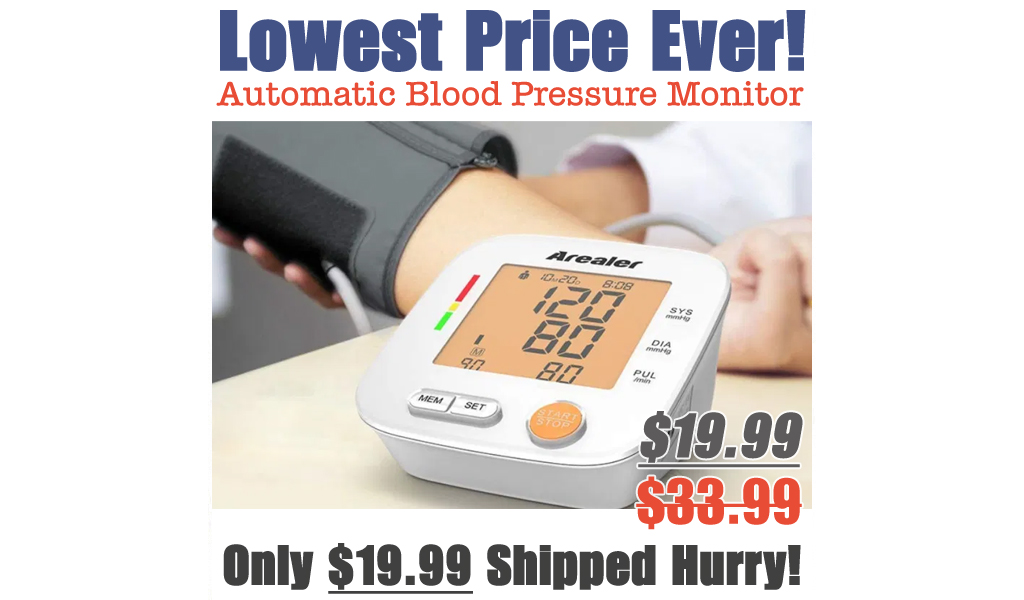 Automatic Blood Pressure Monitor w/ Large LED Screen Just $19.99 Shipped on Amazon (Regularly $33.99)
