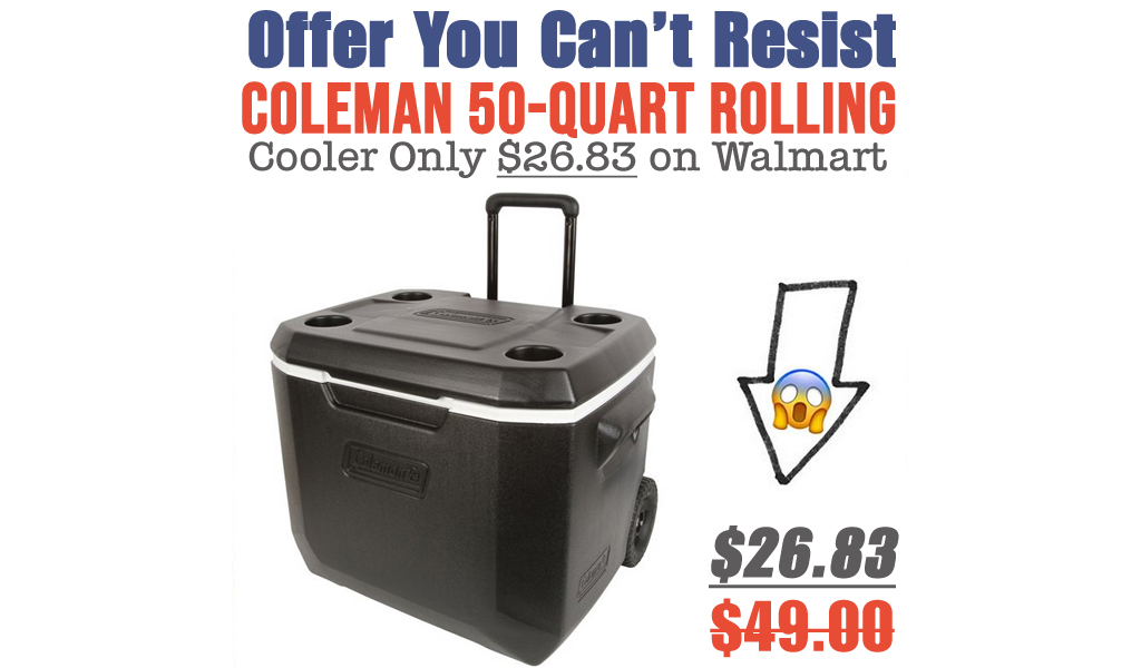 Coleman 50-Quart Rolling Cooler Only $26.83 on Walmart.com (Regularly $49)