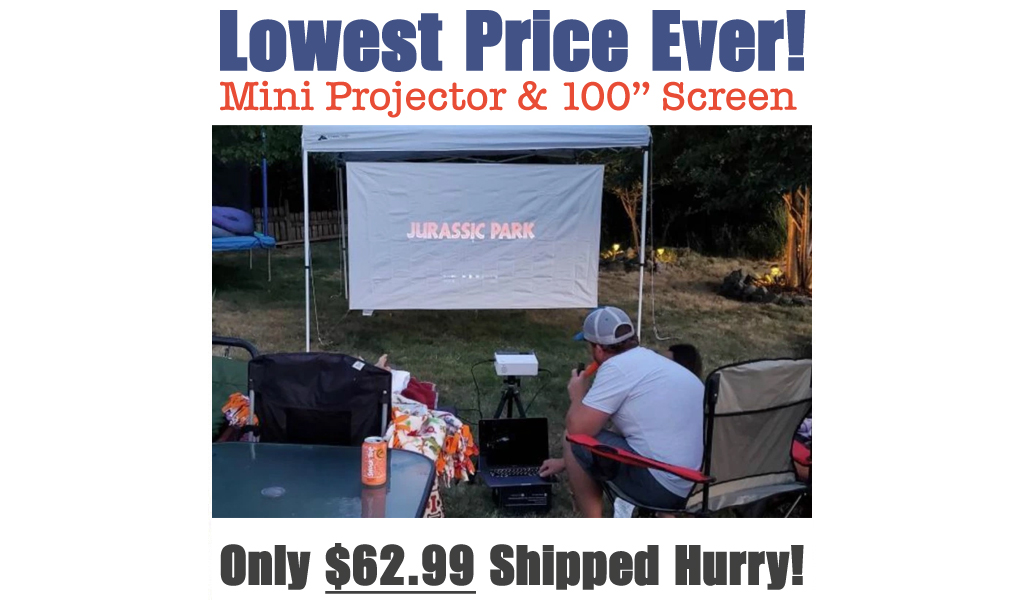 Mini Projector & 100″ Screen Just $62.99 Shipped on Amazon | Great for Family Movie Night!