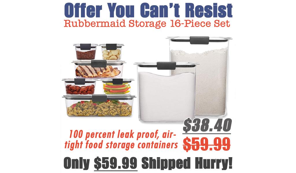 Rubbermaid Brilliance Storage 16-Piece Set Only $38.40 Shipped on Amazon (Regularly $59.99)