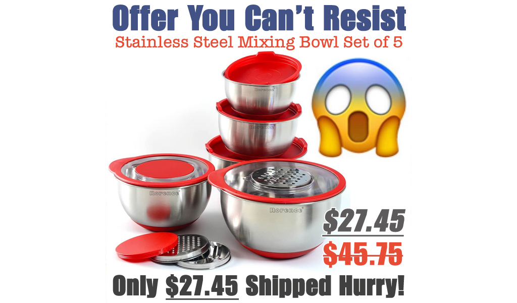 Stainless Steel Mixing Bowl Set of 5 Only $27.45 Shipped on Amazon (Regularly $45.75)