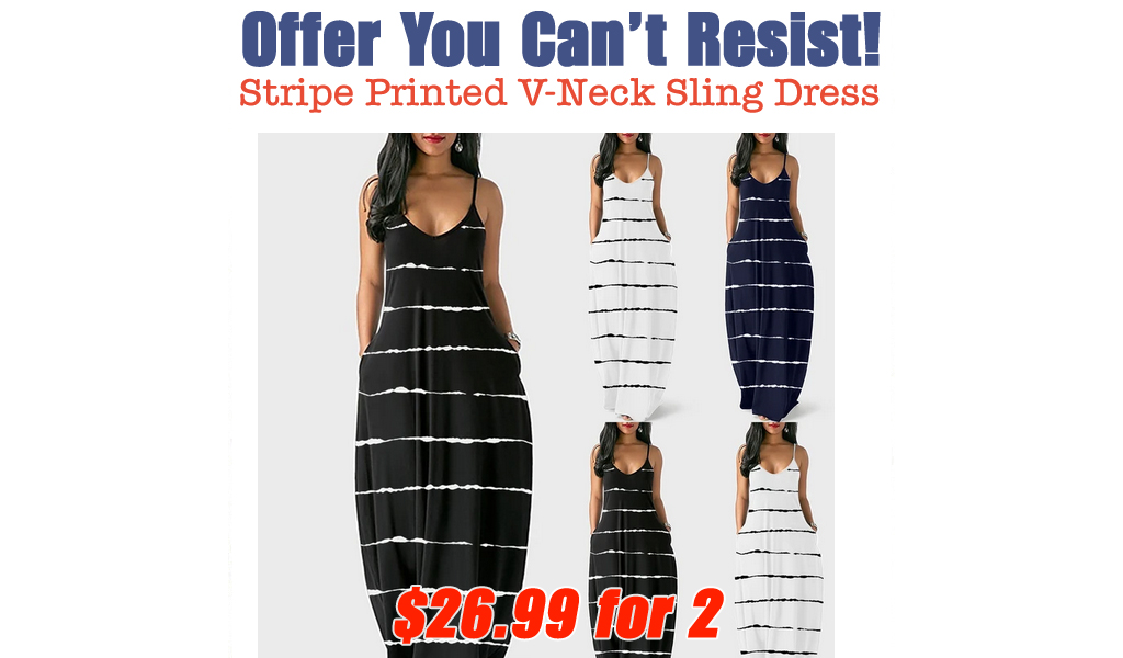 Stripe Printed V-Neck Sling Dress