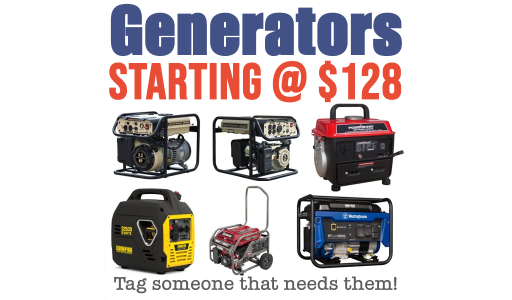 Generator Deals Starting at $128 on Walmart.com