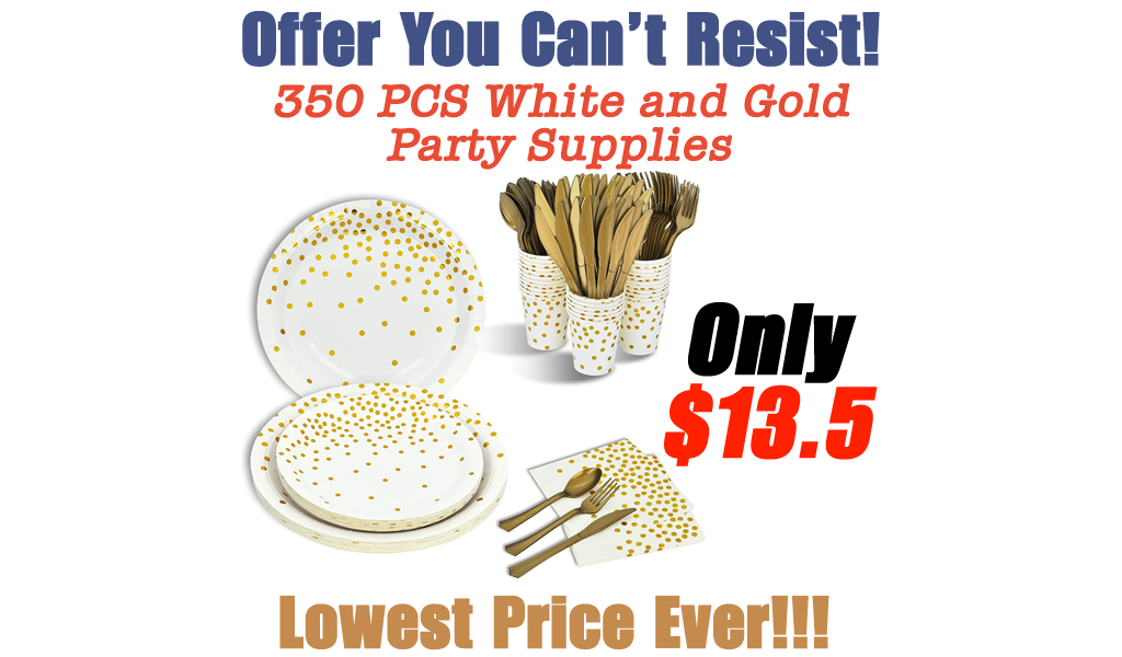 350 PCS White and Gold Party Supplies Only $13.5 Shipped on Amazon (Regularly $33.91)