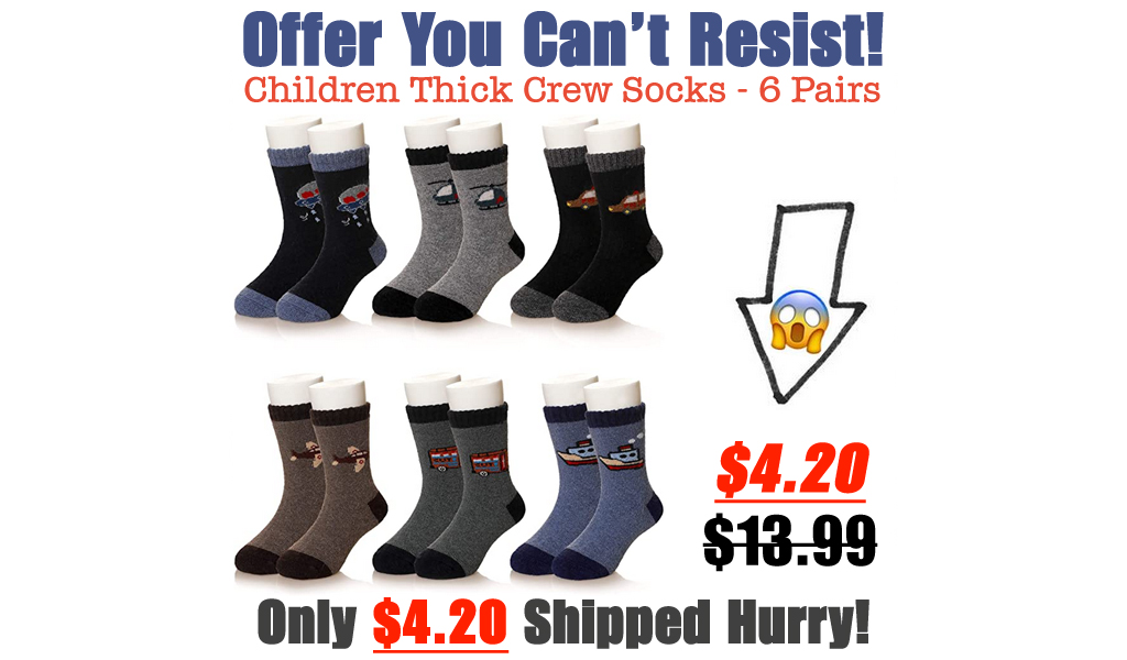 Children Thick Crew Socks - 6 Pairs Only $4.20 Shipped on Amazon (Regularly $13.99)