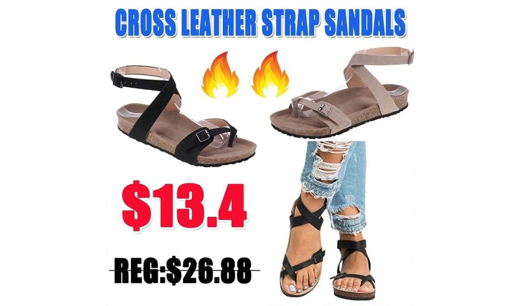 Cross Leather Strap Sandals+Free Shipping!