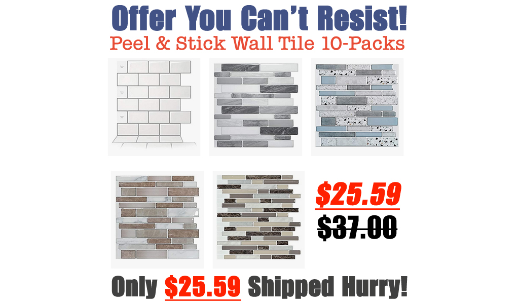 Decorative Peel & Stick Wall Tile 10-Packs from $25.59 Shipped on Amazon (Regularly $37)