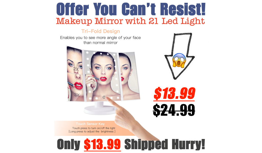 Makeup Mirror with 21 Led Light Only $13.99 Shipped on Amazon (Regularly $24.99)