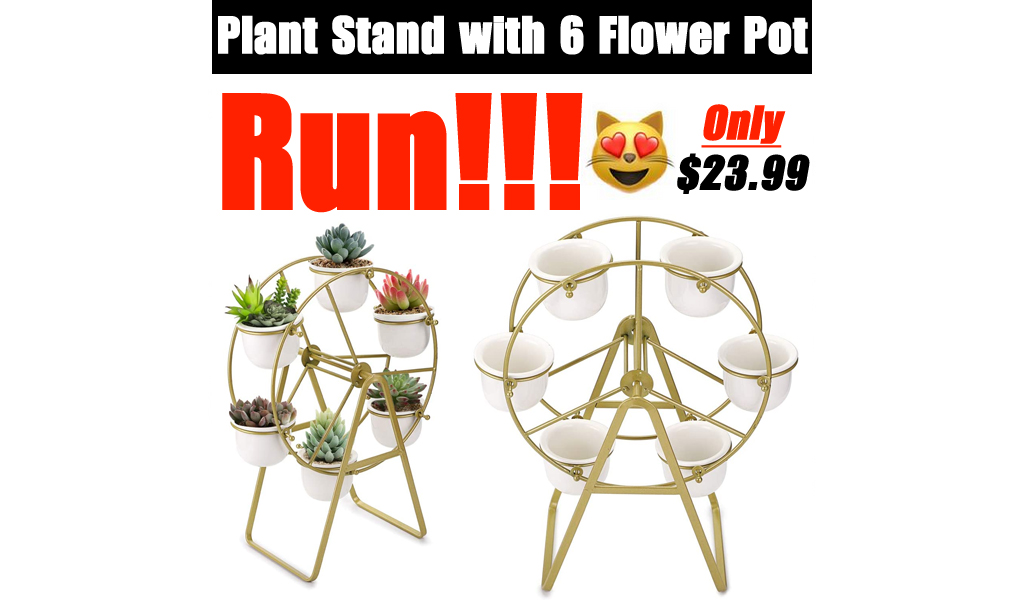 Plant Stand with 6 Flower Pot Only $23.99 Shipped on Amazon