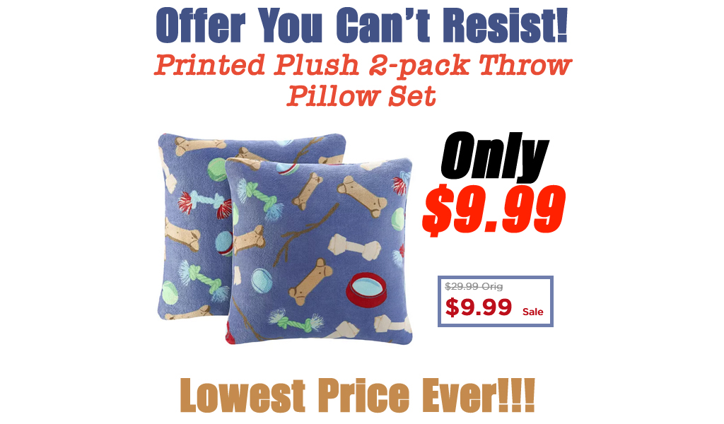 Printed Plush 2-pack Throw Pillow Set Only $9.99 on Kohls.com (Regularly $29.99)