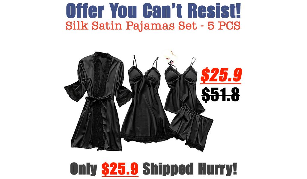 Silk Satin Pajamas Set - 5 PCS Only $25.9 Shipped on Amazon (Regularly $51.8)