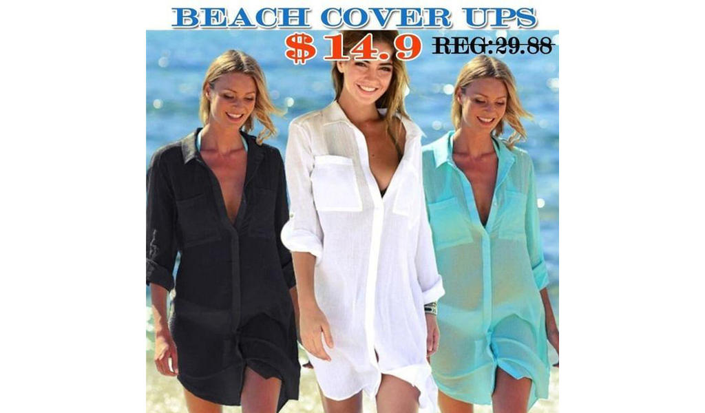 Swimsuit Beach Cover Up Shirt +Free Shipping!