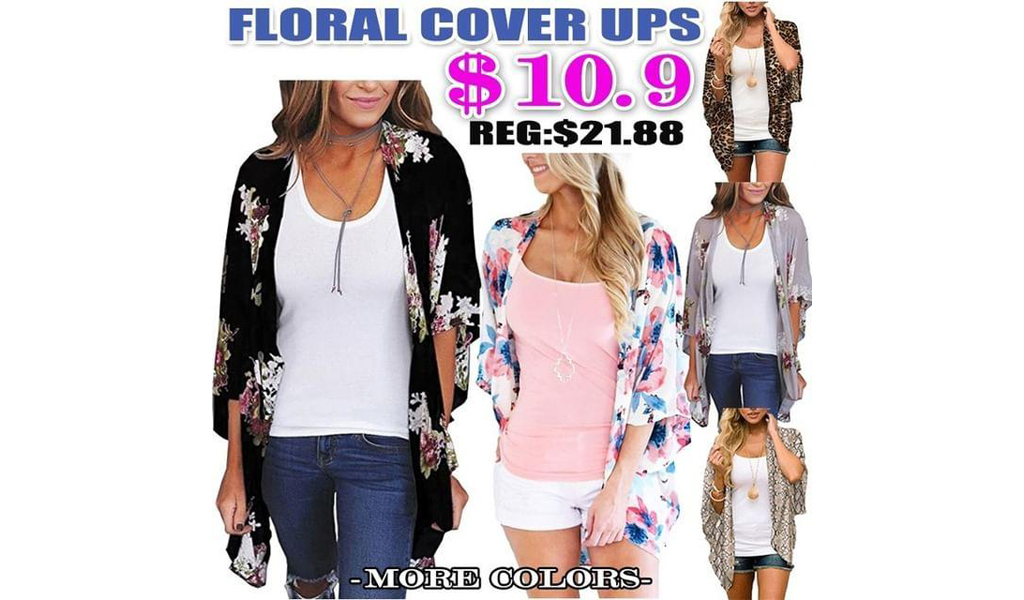 Women Floral Casual Loose Open Front Cardigans+Free Shipping!