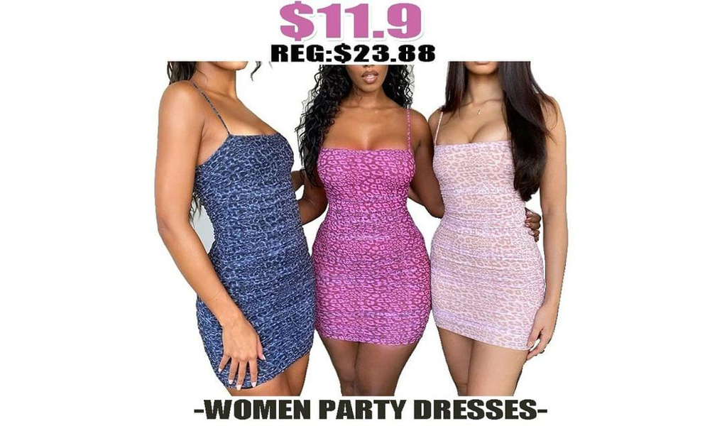 Women Printed Bodycon Spaghetti Strap Party Dresses+Free Shipping!