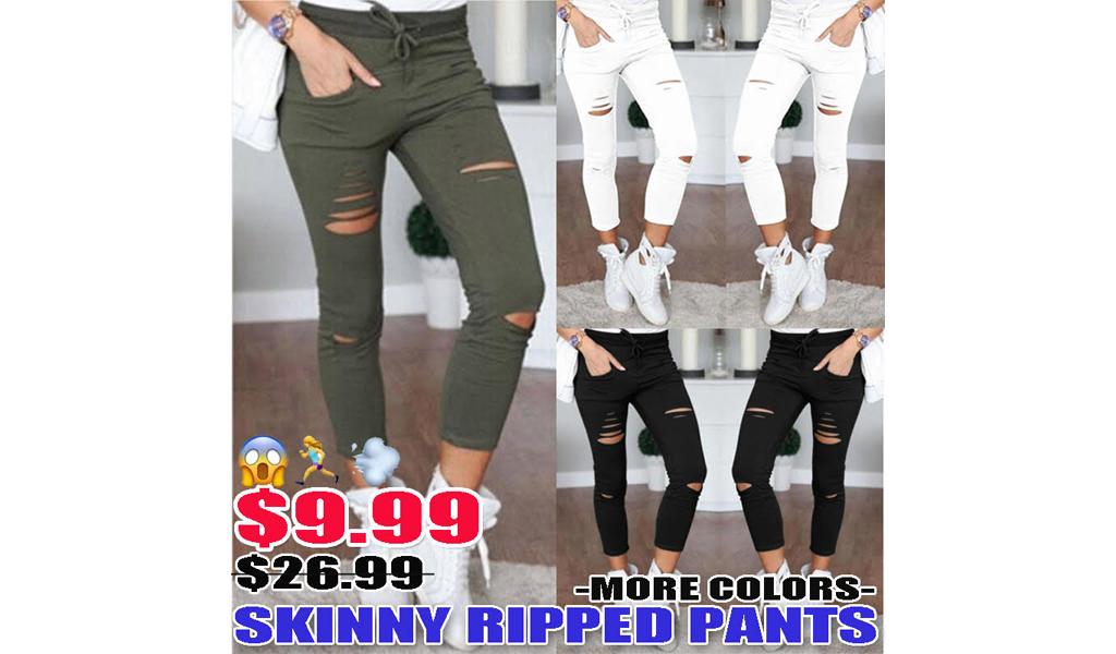 Women Skinny Ripped Pants+Free Shipping!