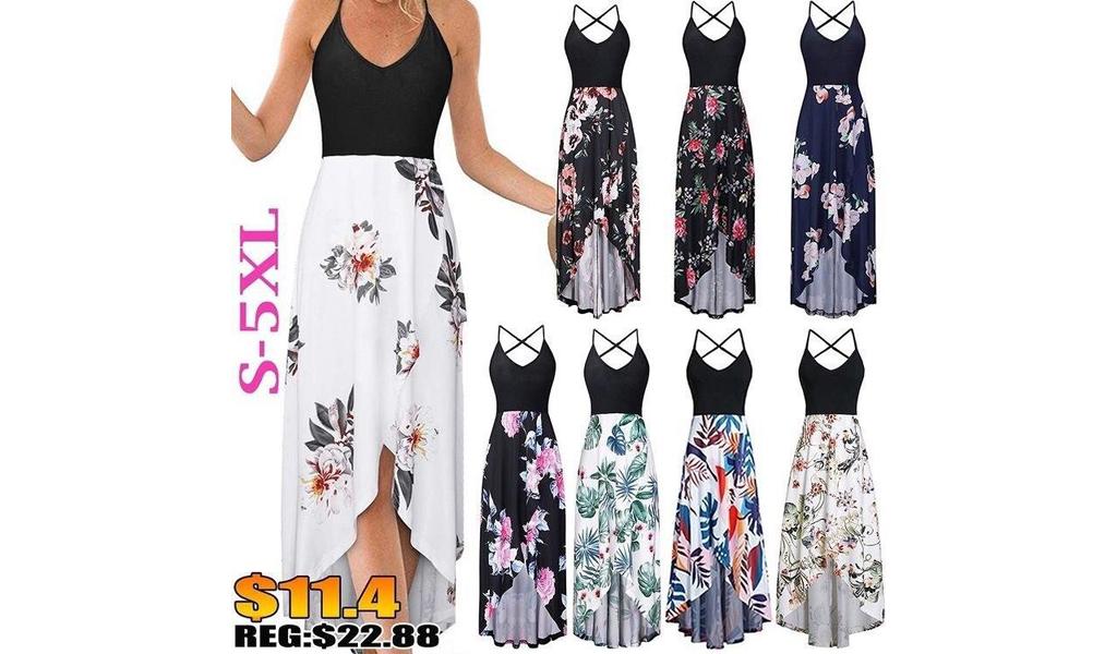 Women Summer Asymmetrical Floral Maxi Dress S-5XL+Free Shipping!