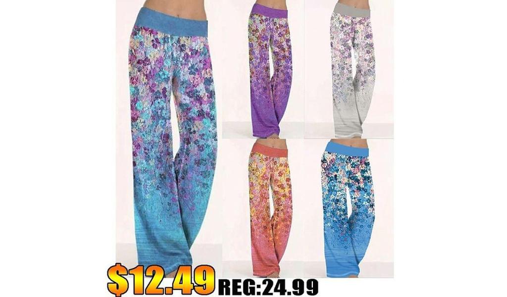 Women Summer Printings Yoga Wide Leg Pants +Free Shipping!