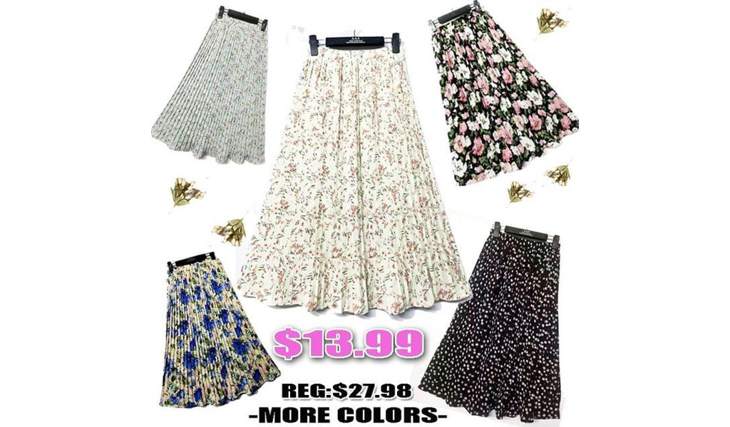 Womens High Waist Floral Printed Pleated Skirt+Free Shipping!