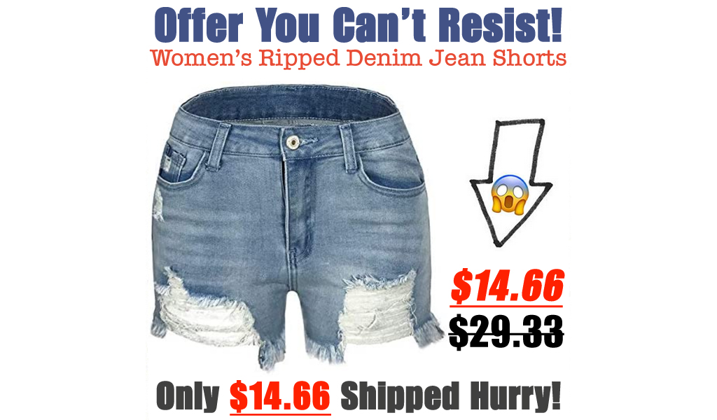 Women's Ripped Denim Jean Shorts Only $14.66 Shipped on Amazon (Regularly $29.33)