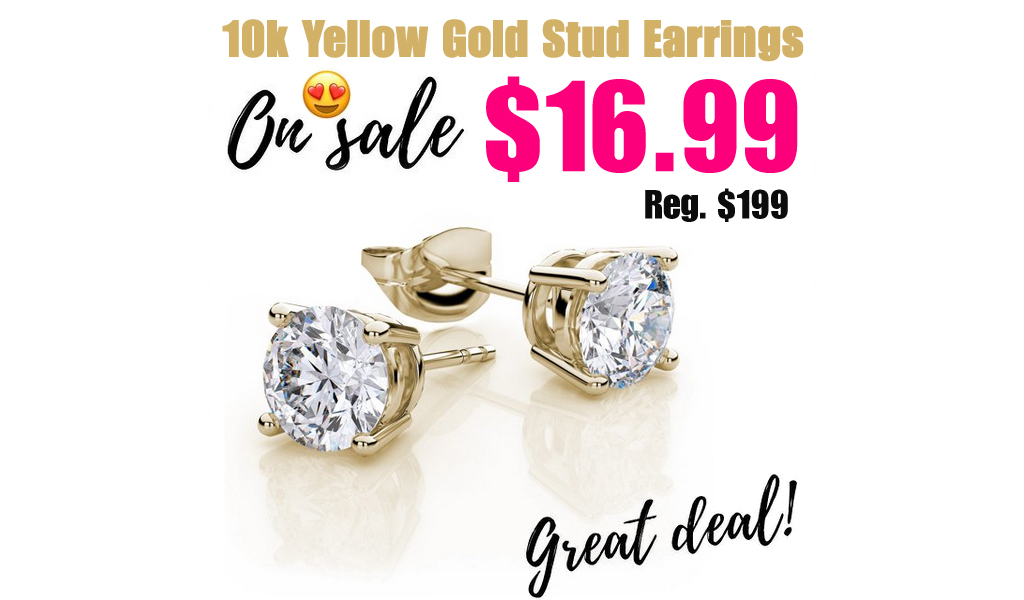 10k Yellow Gold White Sapphire 4 Carat Round Stud Earrings Only $16.99 Shipped on Walmart.com (Regularly $199)