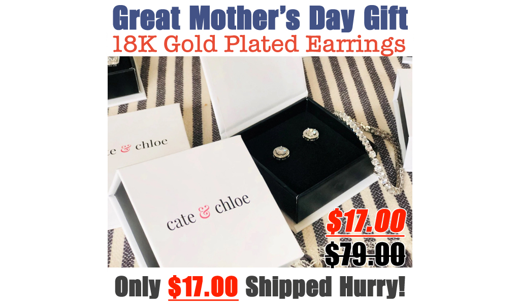 Cate & Chloe 18K Gold Plated Earrings Only $17 Shipped | Great Mother's Day Gift
