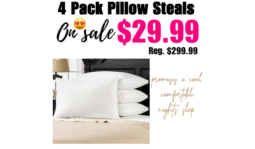 Medium Density Pillow - Set of Four Only $29.99 on Zulily (Regularly up to $299.99)