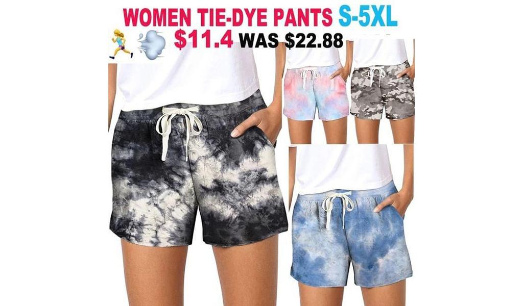 2021 Newest Women Tie-Dye Pattern Gradient Short Pants S-5XL +Free Shipping!