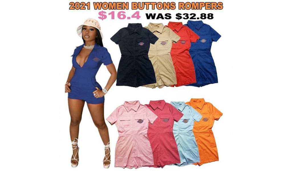 2021 Women Casual Buttons Short Sleeve Shorts Rompers S-2XL+Free Shipping!