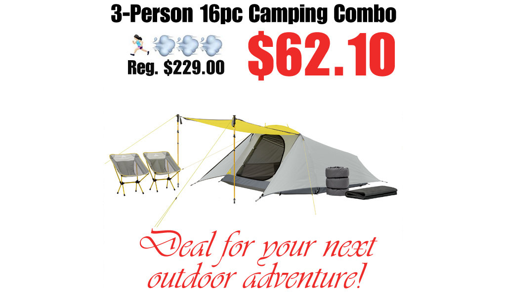 3-Person 16pc Camping Combo Only $62.10 Shipped on Walmart.com (Regularly $229.00)
