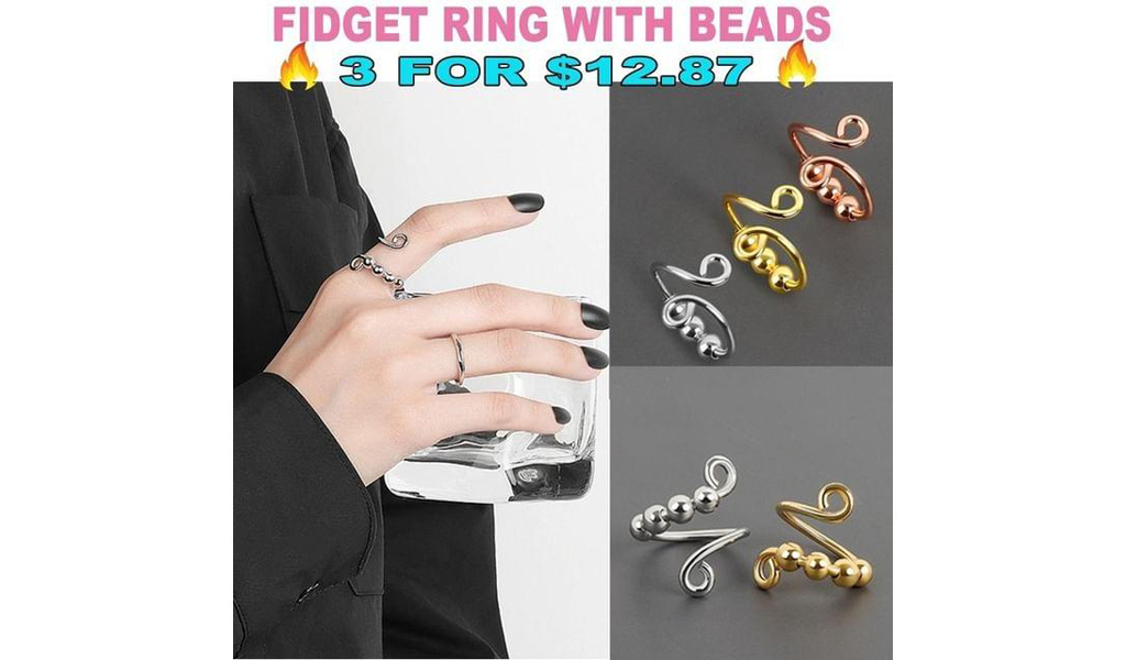 Adjustable Anxiety Fidget Ring With Beads For Women And Lover+Free Shipping!