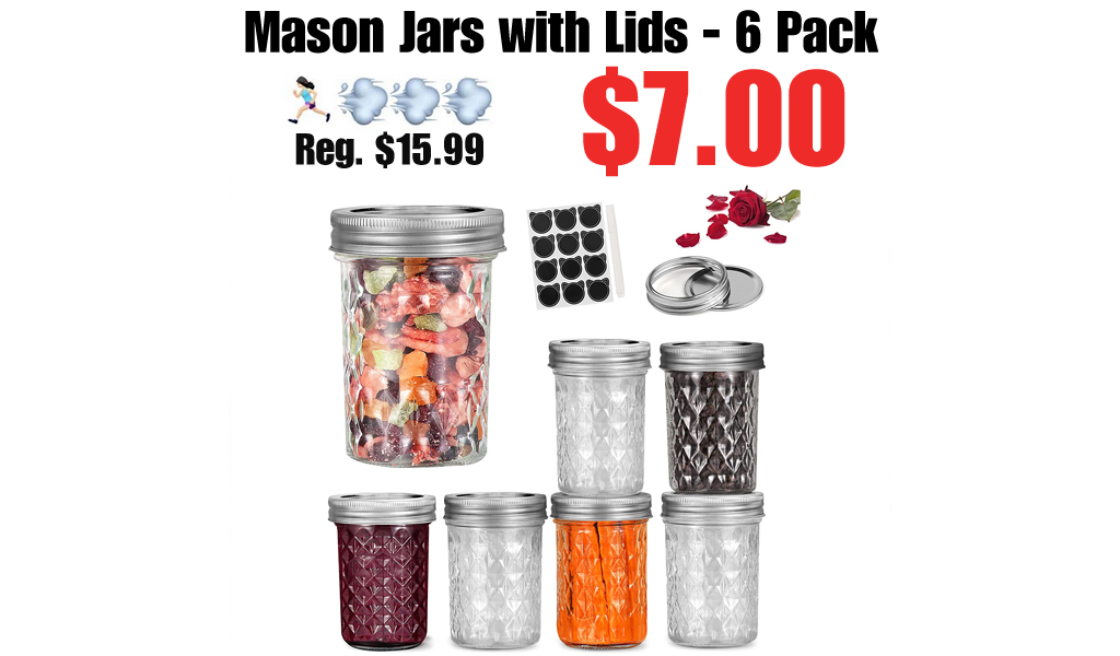Mason Jars with Lids - 6 Pack Only $7.00 Shipped on Amazon (Regularly $15.99)
