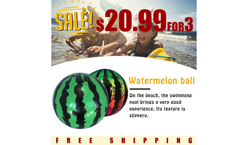 NEW IN--INFLATABLE WATERMELON BEACH BALL