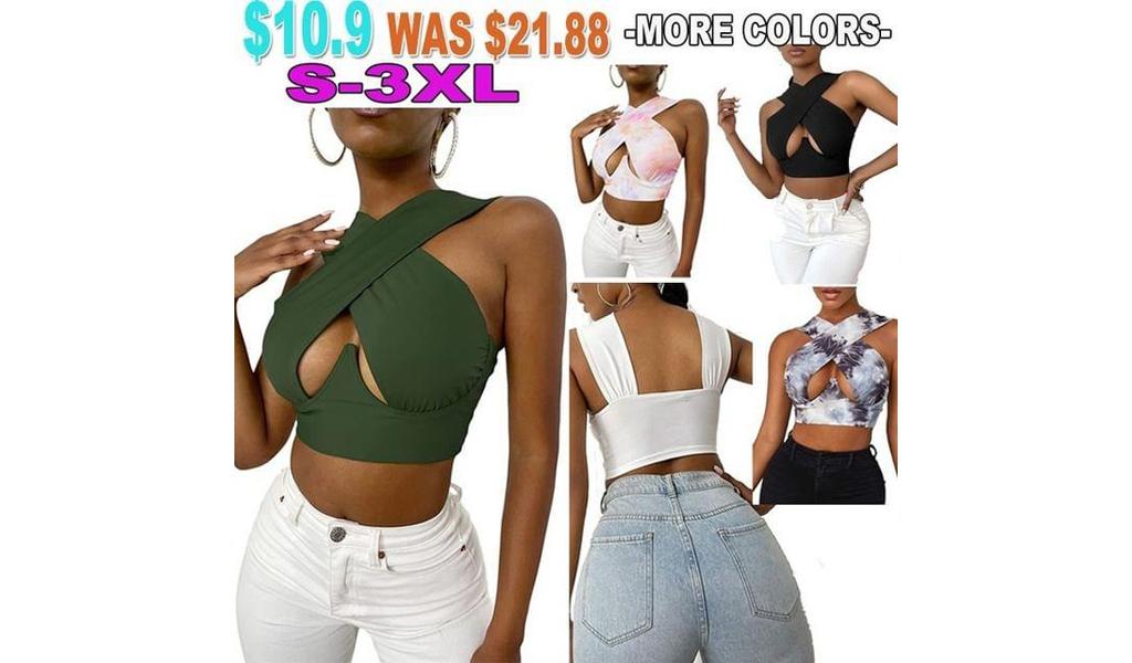 Women Crisscross Cut Out Halter Wrap Crop Tops +Free Shipping!