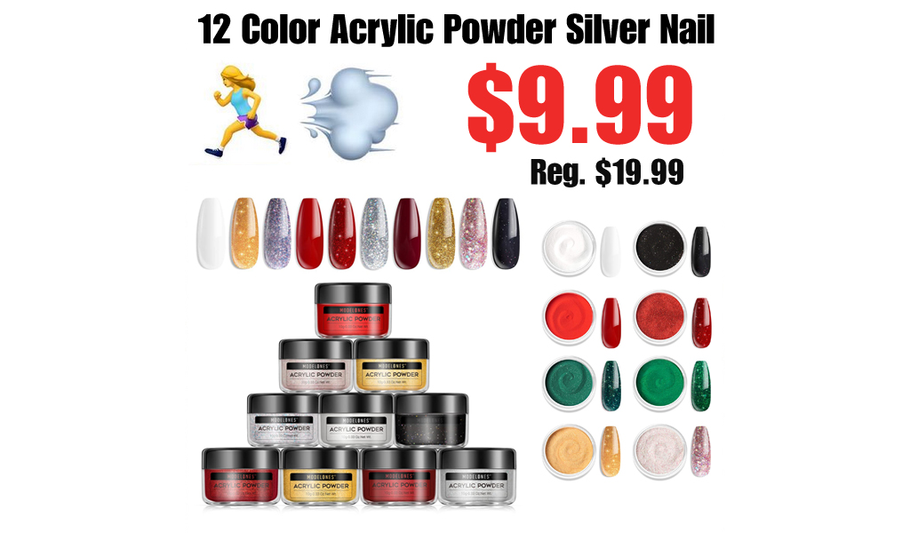 12 Color Acrylic Powder Silver Nail Only $9.99 Shipped on Amazon (Regularly $19.99)