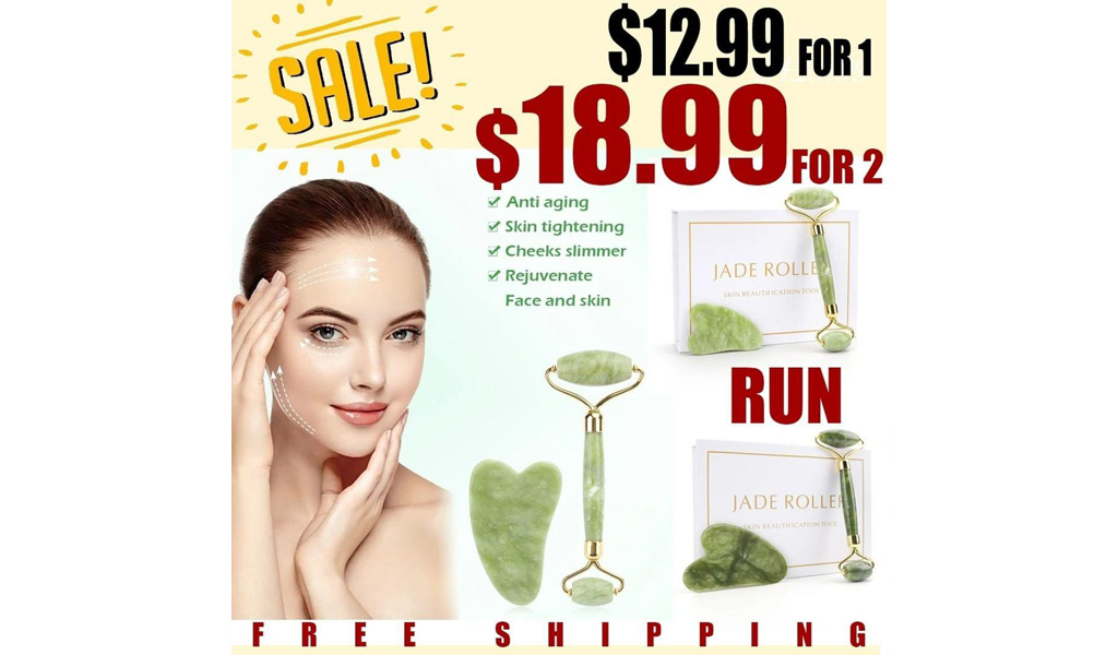 NEW IN--NATURAL JADE ROLLER THIN FACE MASSAGER LIFTING TOOLS