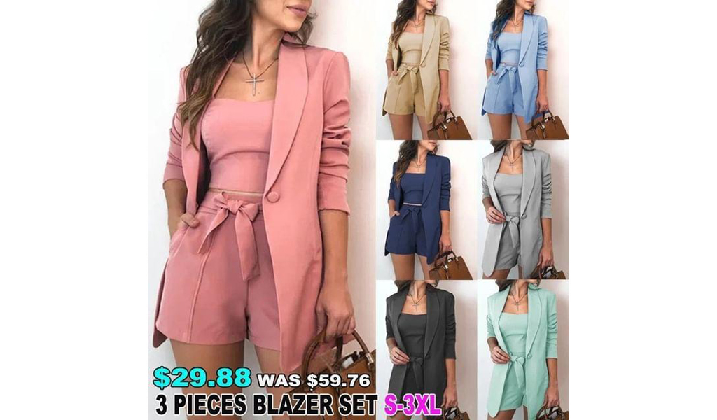 New Women 3 Pieces Outfit Open Front Blazer S-3XL+Free Shipping!