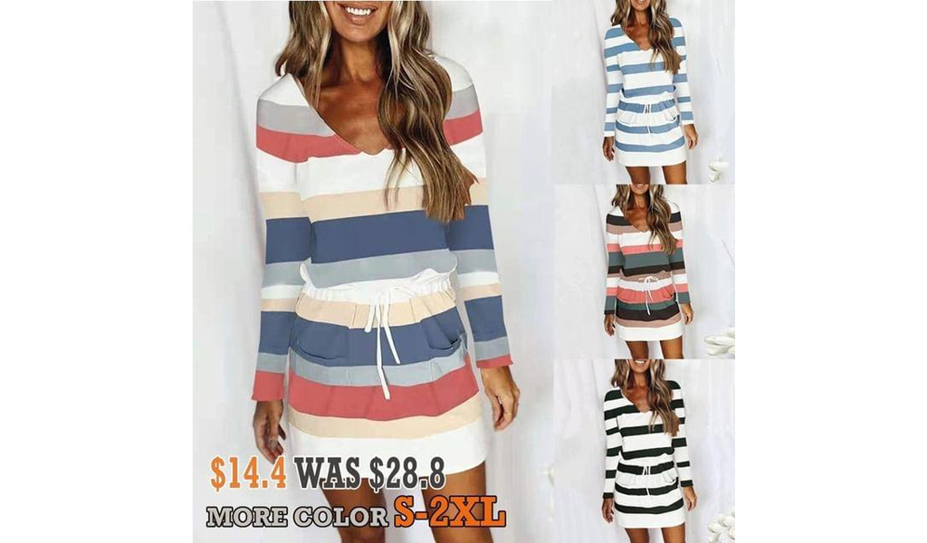 Women Casual V Neck Short Sleeve Dress Striped Drawstring Mini Dress With Pockets+Free Shipping!