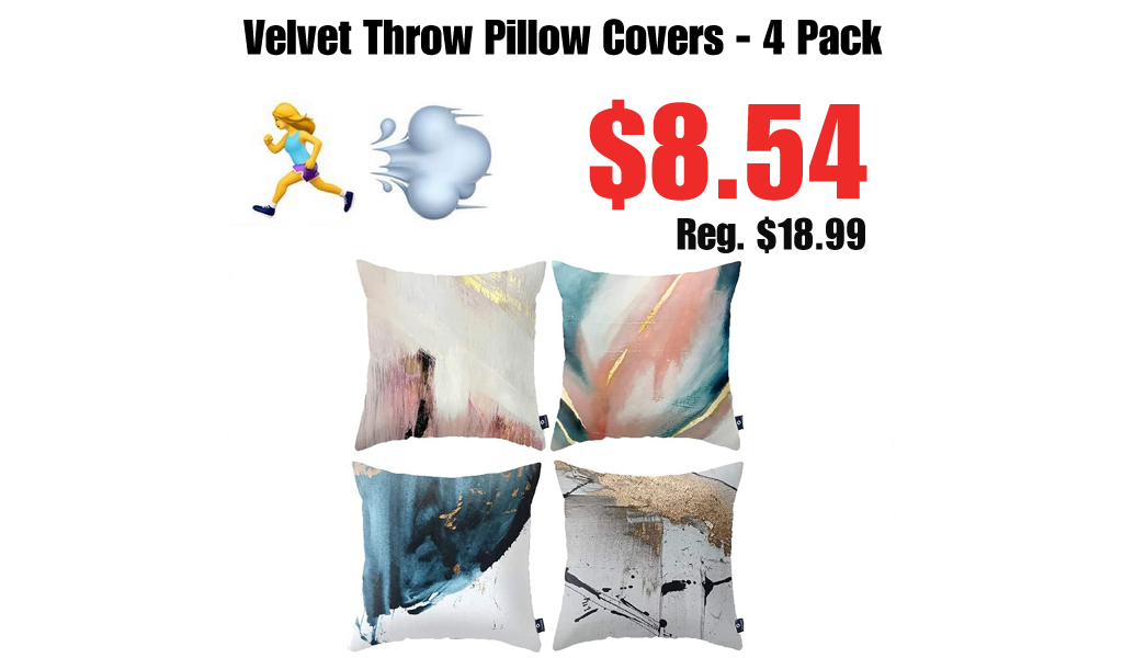 Velvet Throw Pillow Covers - 4 Pack Only $8.54 Shipped on Amazon (Regularly $18.99)