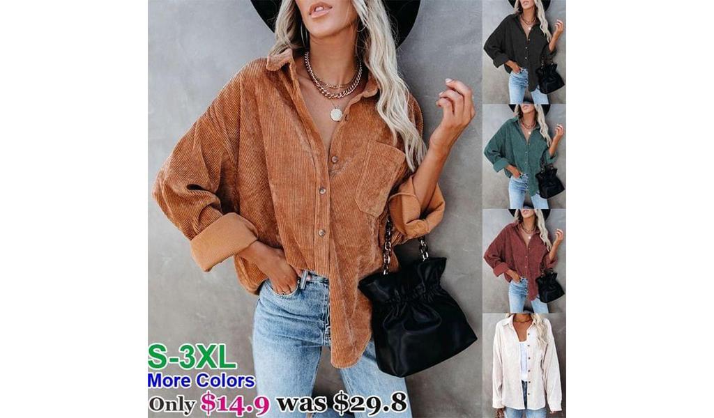 Womens Corduroy Shirts Casual Long Sleeve Button Down Blouses Tops+Free Shipping!